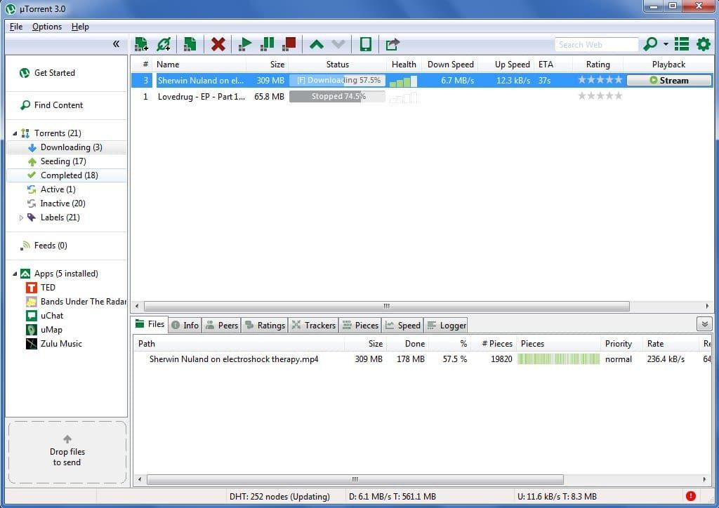 Окно загрузки файлов с помощью utorrent